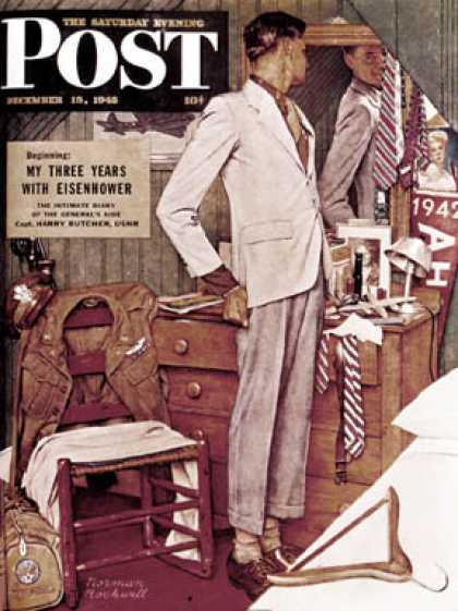 "Saturday Evening Post - 1945-12-15: ""Imperfect Fit"" (Norman Rockwell)"