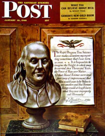 Saturday Evening Post - 1946-01-19: Benjamin Franklin - bust and quote (John Atherton)