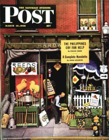 Saturday Evening Post - 1946-03-16: Hardware Store at Springtime (Stevan Dohanos)