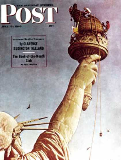 "Saturday Evening Post - 1946-07-06: ""Working on the Statue of   Liberty"" (Norman Rockwell)"