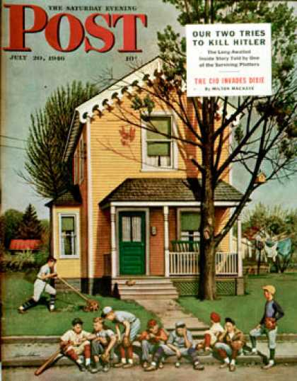 Saturday Evening Post - 1946-07-20: Baseball Player Mowing the Lawn (Stevan Dohanos)