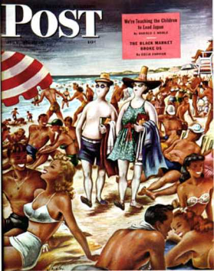 Saturday Evening Post - 1946-07-27: Palefaces at the Beach (Constantin Alajalov)