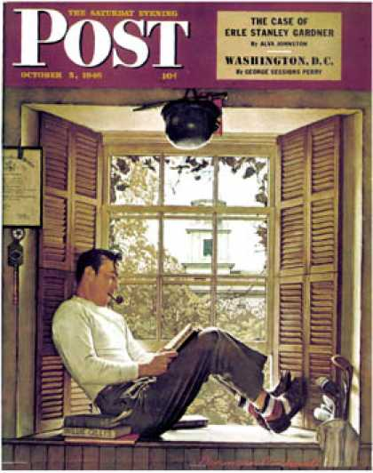"Saturday Evening Post - 1946-10-05: ""Willie Gillis in College"" (Norman Rockwell)"