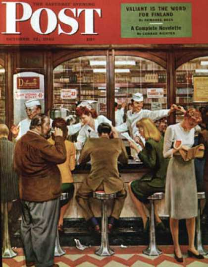 Saturday Evening Post - 1946-10-12: Lunch Counter (John Falter)