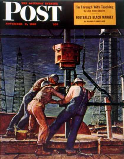Saturday Evening Post - 1946-11-09: Drilling for Oil (Mead Schaeffer)