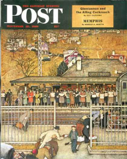 "Saturday Evening Post - 1946-11-16: ""Commuters"" (waiting at Crestwood   train (Norman Rockwell)"
