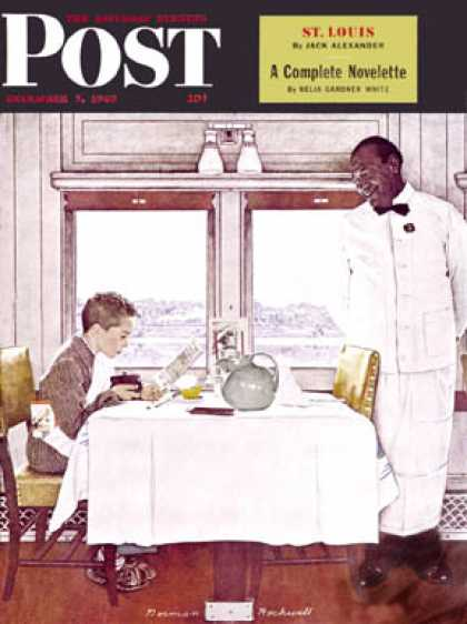 "Saturday Evening Post - 1946-12-07: ""New York Central Diner"" (Norman Rockwell)"