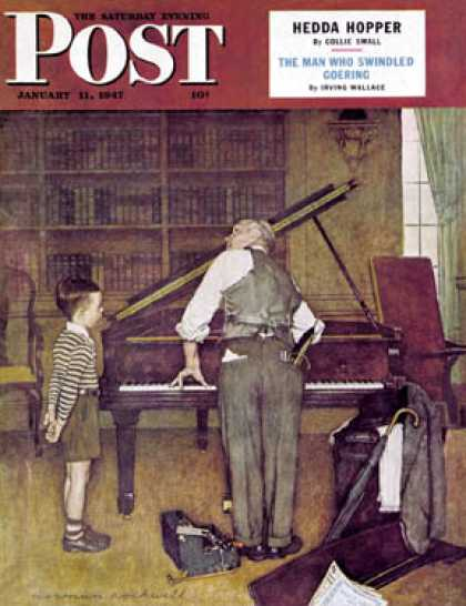 "Saturday Evening Post - 1947-01-11: ""Piano Tuner"" (Norman Rockwell)"