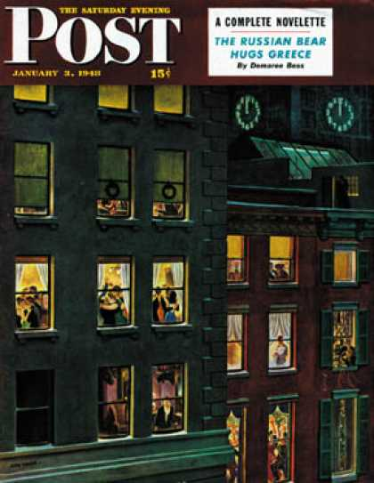 Saturday Evening Post - 1948-01-03: Apartment Dwellers on New Year's Eve (John Falter)