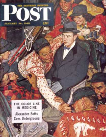 "Saturday Evening Post - 1948-01-24: ""Trip on a Ski Train"" (Norman Rockwell)"