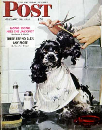 Saturday Evening Post - 1948-01-31: Butch's Haircut (Albert Staehle)