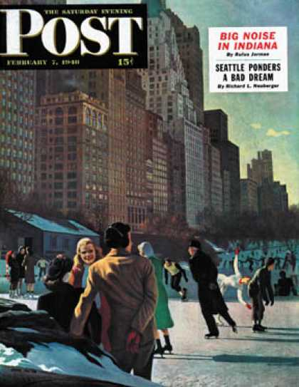 Saturday Evening Post - 1948-02-07: Skaters in Central Park (John Falter)