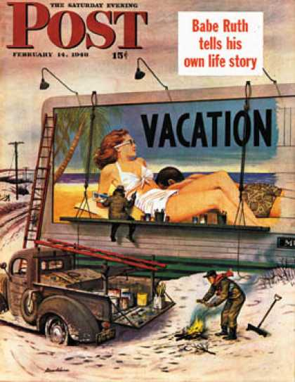 Saturday Evening Post - 1948-02-14: Billboard Painters in Winter (Stevan Dohanos)