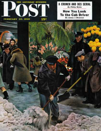 Saturday Evening Post - 1948-02-28: Shoveling Floral Shop Sidewalk (John Falter)