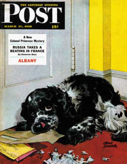 Saturday Evening Post - 1948-03-13: Butch Chews the Mail (Albert Staehle)