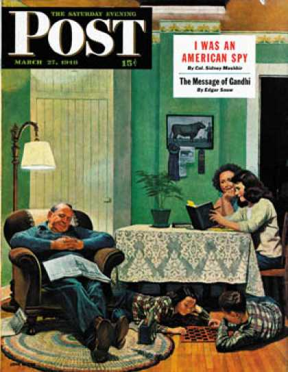 Saturday Evening Post - 1948-03-27: After Dinner at the Farm (John Falter)