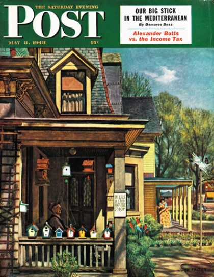 Saturday Evening Post - 1948-05-08: Birdhouse Builder (John Falter)