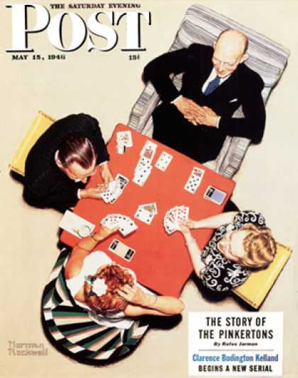 "Saturday Evening Post - 1948-05-15: ""Bridge Game"" or ""Playing   Cards"" (Norman Rockwell)"