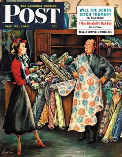 Saturday Evening Post - 1948-05-22: Fabric Store (Constantin Alajalov)