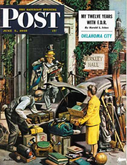 Saturday Evening Post - 1948-06-05: Returning Home From College (Stevan Dohanos)