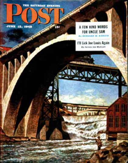 Saturday Evening Post - 1948-06-12: Fishing Under Bridge (John Atherton)