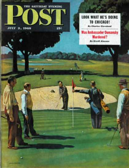 Saturday Evening Post - 1948-07-03: Sand Trap (John Falter)