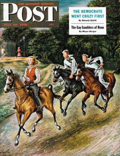 Saturday Evening Post - 1948-07-10: Sailors on Girl Chase (Constantin Alajalov)