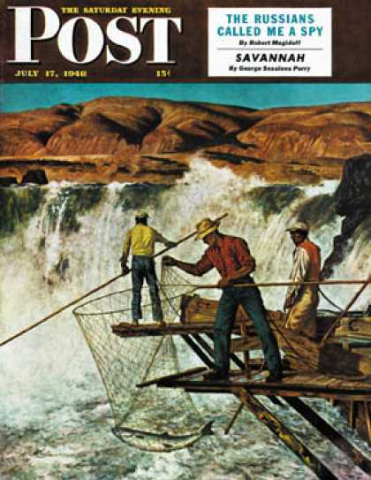 Saturday Evening Post - 1948-07-17: Salmon Fishing (John Atherton)