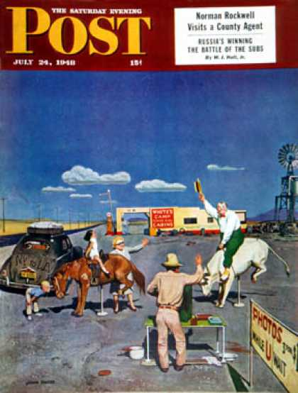 Saturday Evening Post - 1948-07-24: Photos on Fake Broncos (John Falter)