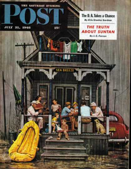Saturday Evening Post - 1948-07-31: Rainy Day at Beach Rental (Stevan Dohanos)