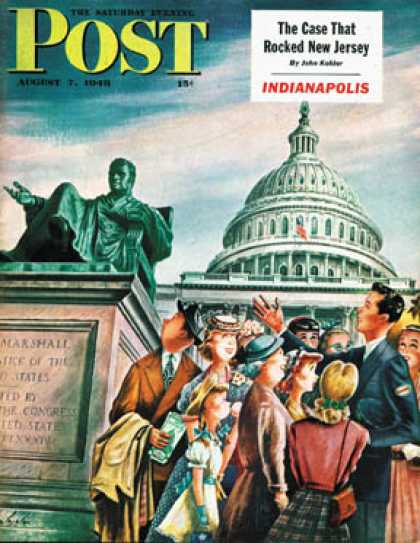 Saturday Evening Post - 1948-08-07: Tourists in Washington D. C. (Constantin Alajalov)