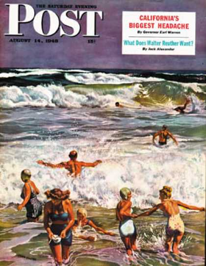 Saturday Evening Post - 1948-08-14: Surf Swimming (John Falter)