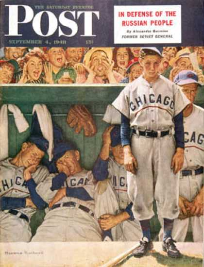 "Saturday Evening Post - 1948-09-04: ""Dugout"" (Norman Rockwell)"