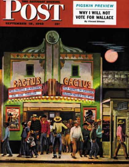 Saturday Evening Post - 1948-09-18: Cactus Theater (John Falter)