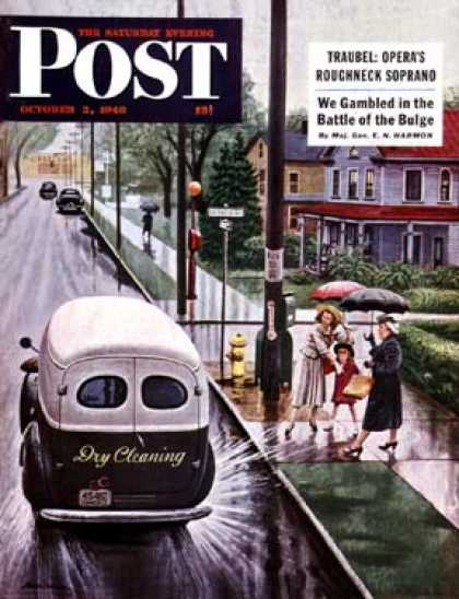 Saturday Evening Post - 1948-10-02: Muddied by Dry Cleaning Truck (Stevan Dohanos)