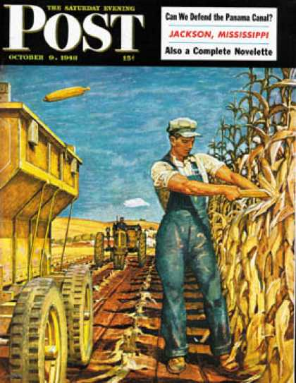 Saturday Evening Post - 1948-10-09: Corn Harvest (Mead Schaeffer)