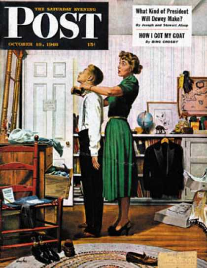 Saturday Evening Post - 1948-10-16: Readying for First Date (George Hughes)