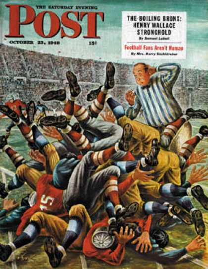 Saturday Evening Post - 1948-10-23: Football Pile-up (Constantin Alajalov)