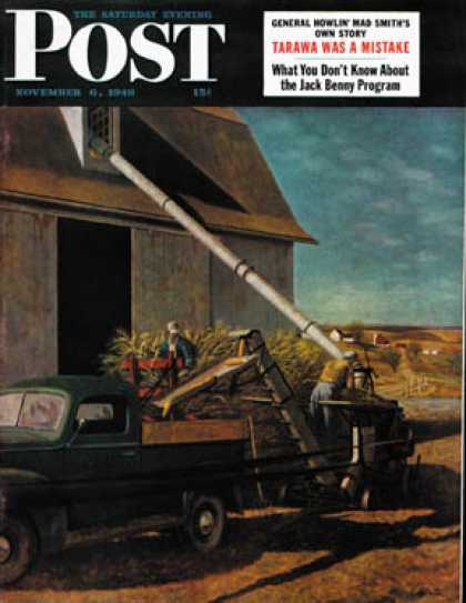 Saturday Evening Post - 1948-11-06: Storing the Corn (John Atherton)
