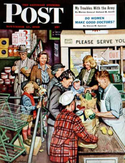 Saturday Evening Post - 1948-11-13: Grocery LIne (Stevan Dohanos)