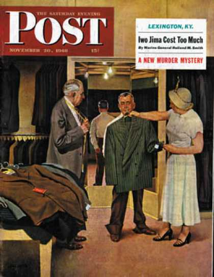 Saturday Evening Post - 1948-11-20: Choosing a New Suit (John Falter)