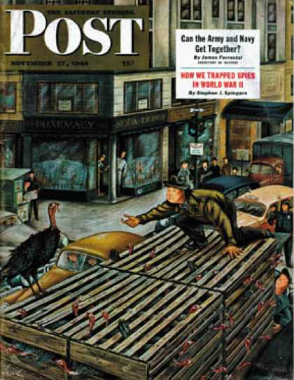 Saturday Evening Post - 1948-11-27: Turkey Loose Atop Truck (Constantin Alajalov)