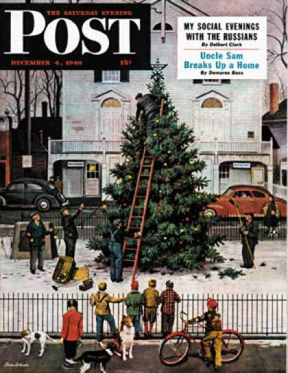 Saturday Evening Post - 1948-12-04: Tree in Town Square (Stevan Dohanos)