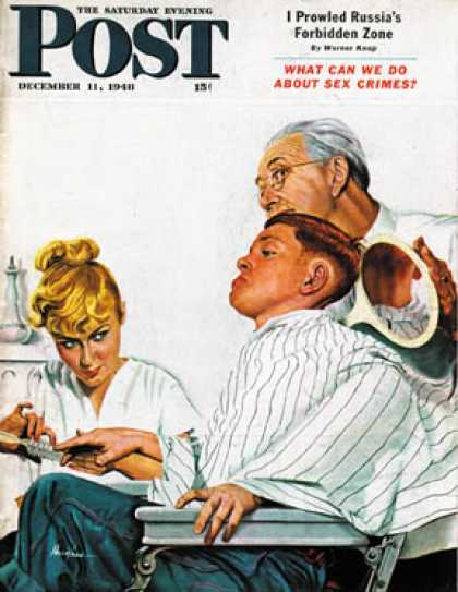 Saturday Evening Post - 1948-12-11: Haircut and Manicure (George Hughes)