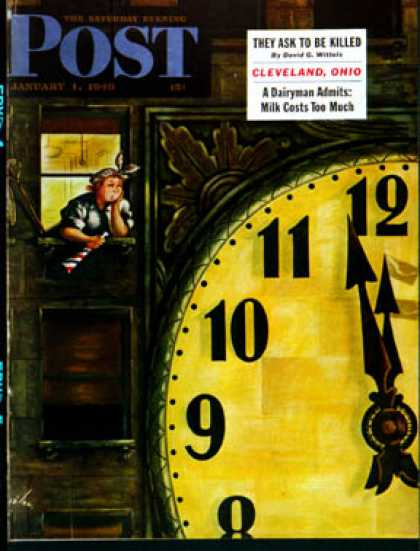 Saturday Evening Post - 1949-01-01: Giant Clock on New Year's Eve (Constantin Alajalov)