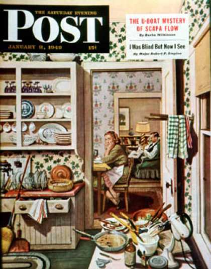 Saturday Evening Post - 1949-01-08: After Dinner Dishes (Stevan Dohanos)
