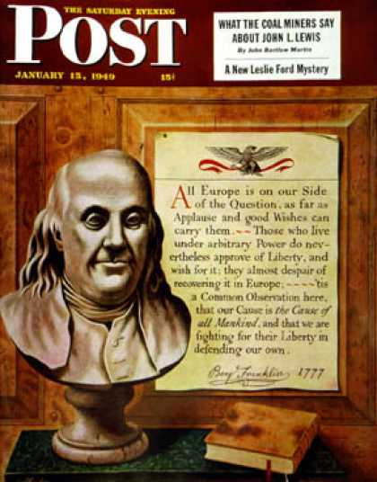 Saturday Evening Post - 1949-01-15: Bust of Franklin (John Atherton)