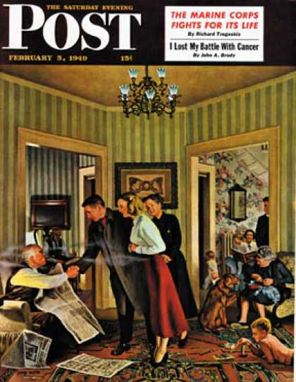 Saturday Evening Post - 1949-02-05: Meeting the Date (John Falter)