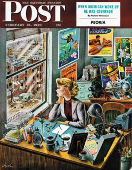 Saturday Evening Post - 1949-02-12: Travel Agent at Desk (Constantin Alajalov)