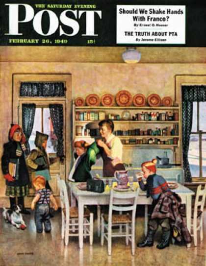 Saturday Evening Post - 1949-02-26: Getting Ready for School (John Falter)